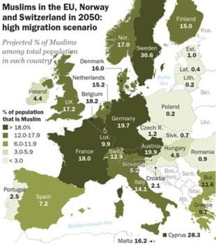 007 Mögliche Muslime in EU, Norwegen, Schweiz 2050