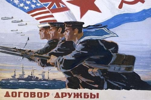 006 sowj plakat für zusammenarbeit mit US u UK