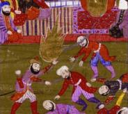 001 Mohammed im Hintergrund befiehlt 627 n.Chr., 700 Juden vom Stamme Quraiza zu töten